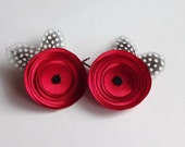 Red Satin Poppies with Feathers Hair Pins, Shoe Clips, Hair Clips