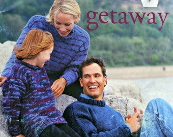 Sweater Knitting Patterns Men Women Children Getaway Patons 934 Cardigan Vest Turtleneck Vintage Paper Original NOT a PDF