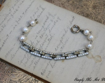 Vintage Art Deco Rhinestone and Pearl One of a Kind Bracelet...Enchanted One