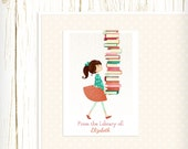 Personalized Bookplates - Library Girl - Set of 18 - childrens bookplates teacher librarian gift reader reading brunette brown hair
