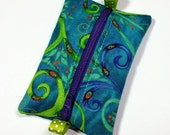 FREE SHIPPING UPGRADE with minimum -  Tiny zipper pouch / earbud case / ear bud pouch / coin pouch / jump stick case | Peacock