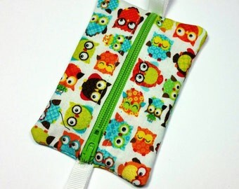FREE SHIPPING UPGRADE with minimum -  Tiny zipper pouch / earbud case / earbud pouch / coin pouch | Happy Owls