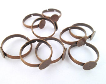 8mm adjustable copper ring blanks DIY ring bases, pick your amount