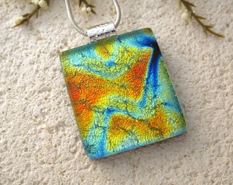 Blue Green Gold  Necklace, Fused Glass Jewelry, Dichroic Necklace, Glass Pendant, Dichroic Jewelry, Silver Necklace Included, 070116p101