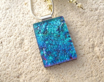 Deep Aqua Necklace, Dichroic Jewelry, Dichroic Pendant, Fused Glass Jewelry, Dichroic Glass Jewelry, Necklace, Blue Necklace,  080416p100