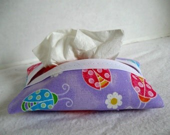 Ladybugs Tissue Holder Purple Glittery Pocket Tissue Cozy Travel Size