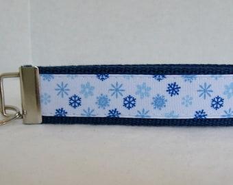 Snowflake Key Fob - Dark Blue Key Chain - Winter Keychain Wristlet - Large Key Fob Snowflakes