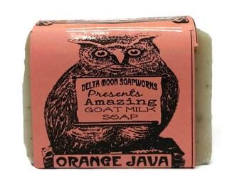 Orange Java Goat Milk Soap, all Natural Soap, Handmade Soap, scrubby soap, citrus soap, coffee soap, cold process soap, sensitive skin