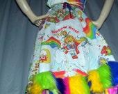 Rainbow Dress Fur Furry Hem Heart Bodice Upcycled Vintage 1983 Brite Fabric Geek Gay Pride Parade Hippie Sundress Custom S to Plus Adult