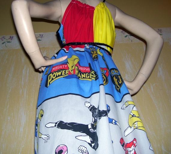 Power Rangers Dress OOAK Upcycled Patchwork SunDress Comic Con Mom Party Vintage Cartoon Adult Geek Sundress Size Free S M L XL XXL
