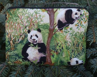 Panda zip bag, make up bag, accessory bag, zippered pouch, The Scooter