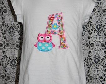 Owl Appliqued Letter Shirt Custom size 12m- girls size 10  Monogram