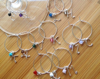 Personalized Wine Charms, Single Letter Wine Charms, Swarovski Bead Detail, Set of 8