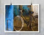 Moroccan Art Print - blue bicycle old door blue textured wall - 20x30 20x16 photographic wall art home decor photo big print poster display
