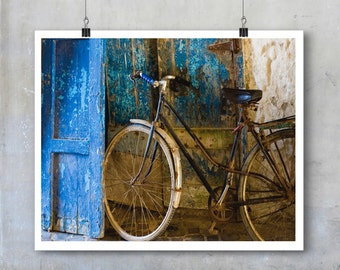 Moroccan Art Print bicycle travel photography Essaouira shabby chic blue bike Morocco wall art big print poster gift for cyclists home decor