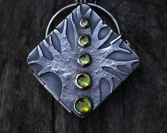 The Gatherer's Locket – peridot and sterling silver necklace