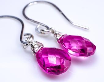 Pink Corundrum Sterling Silver Earrings