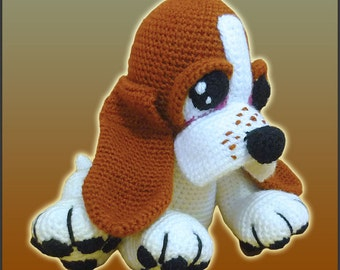 Amigurumi Pattern Crochet Boris Basset Hound Puppy Dog DIY Digital Instant Download PDF