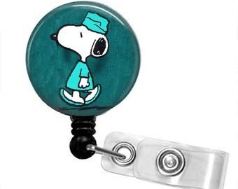 SNOOPY IN SCRUBS Retractable Badge Reel
