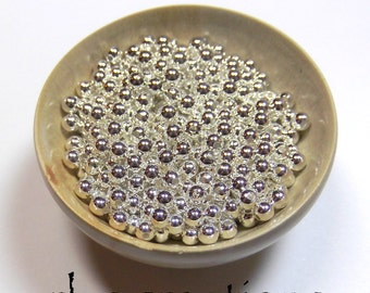 Spacer Beads - 3mm Round - Silver Plated Brass