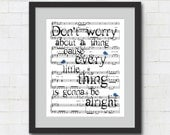 "Bob Marley Quote Wall Art : ""Don't Worry About a Thing, Cause Every Little Thing, Is Gonna Be Alright"" Art Print / Three Little Birds Lyrics"