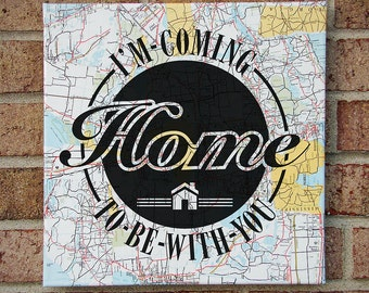 "I'm Coming Home To Be With You : Mason Jennings ""Something about Your Love"" Lyrics Typography Art on Vintage Map"