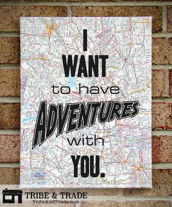 Map Canvas Wall Art : I Want to Have Adventures with You - World Map, Wall Hanging, Quote Prints, Typography Art, Canvas Quotes