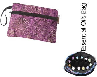 Essential Oil Bag - Essential Oil Pouch - Oil Bags - Waterproof lining fabric -Wine Batik Fabric