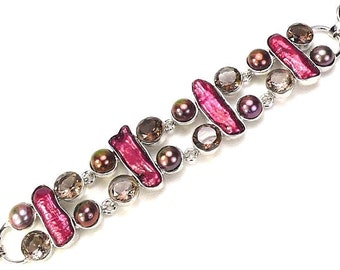 Sale: Biwa Pearl and Smoky Quartz Sterling Silver Bracelet