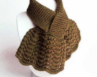 Dark Amber Keyhole Scarf. Small Knit Muffler. Womens Pull Through Neck Warmer. Ladies Scarflett. Wool Blend Winter Lacy Ascot Scarf