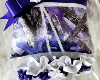 Purple Real Tree/True Timber SassyB Satin Camoflauge Ring Pillow & Garters Set-White Lace-True Timber Sassy B-Camo Wedding