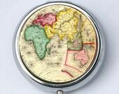 Eastern Hemisphere PILL case pill box pillbox holder Vintage World Map