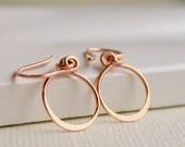 Valentine's Sale. Petite Hoop Earrings in Sterling, Gold fill, or Rose gold fill. Dangle Earring. Drop Earring.