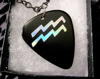 Aquarius sign guitar pick necklace, black & silver, hot foil stamped