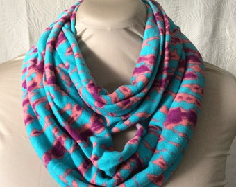 Stripe Tie-Dye Sweater Knit Infinity Scarf