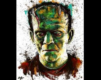 "Print 8x10"" - The Monster - Frankenstein Classic Monsters Dark Art Halloween Creature Pop Art Gothic Dracula Ink Vintage Science Fiction"
