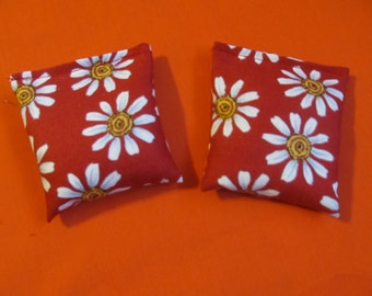 2 Daisy on Red Fabric Rice Bags - Nail Application - Hot or Cold Compress - Pick Your Size - Reusable Rice Bags
