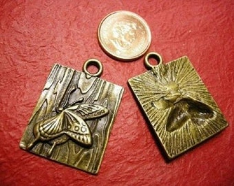 2pc antique bronze butterfly alloy pendent-1680K