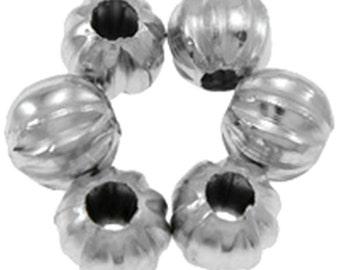 50pc antique silver finish 5mm pumpkin corrugated beads-2380F