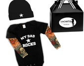 My Dad Rocks Star Baby Gift Set - black onesie with tattoo sleeves, Hat and gift box