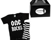 One Rocks Rockstar Baby Kit Gift Set onesie & leg Warmers
