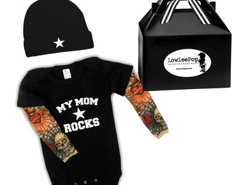 My Mom Rocks Star Baby Gift Set - black onesie with tattoo sleeves, Hat and gift box