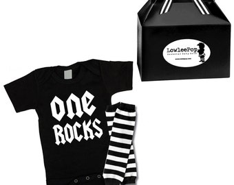 One Rocks Rockstar Baby Kit Gift Set onesie & leg Warmers