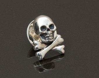 Skull & Bones Lapel Pin, Sterling Silver,  handcrafted