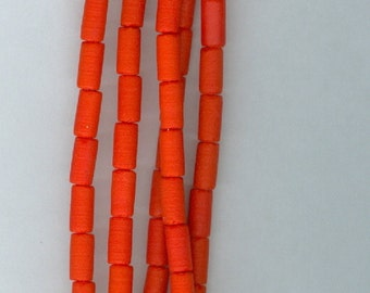 Orange Tube Beads Sea Glass 4x8mm Tube Spacer Beads Seaglass Tubes Bead