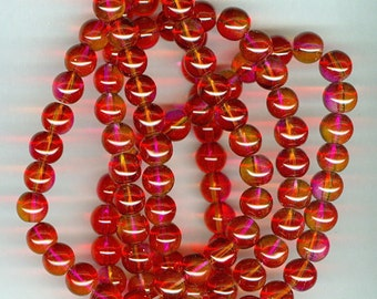 8mm Red and Hot Pink Double Color Glass Round Beads Long Strand