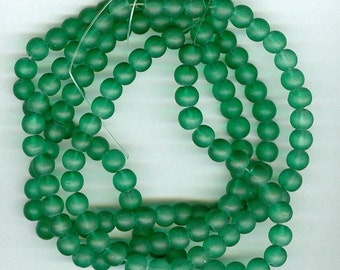 Green Glass Beads, 6mm Green Frosted Glass Round Spacer Beads, 140 Bead Spacers