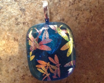 Blue Dragonfly Fused Dichroic Art Glass Pendant