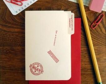 letterpress congratulations graduate mini manila file folder greeting card red ink on manila paper with red envelope