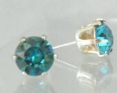 Indicolite Blue 6mm SWAROVSKI Crystal 925 Sterling Silver Earring Castings